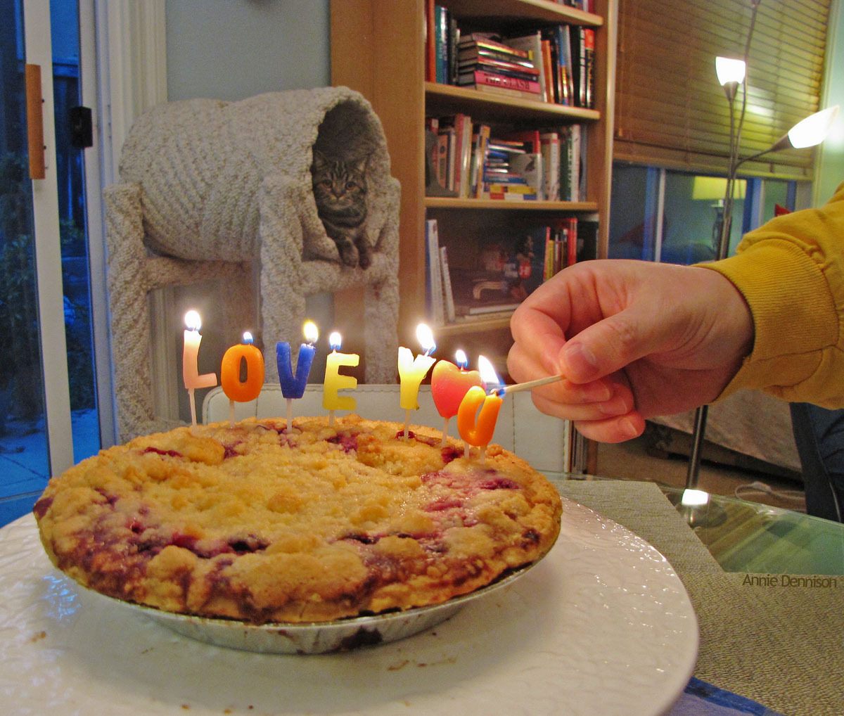 "The candles on her first birthday pie said: ""LOVE YOU"" (And that's the birthday girl in the background, waiting to blow them out…) PS It's a mixed-berry pie, dear Ms. Marjoree. I slaved ALL DAY over a hot stove (then bought the pie at Trader Joe's)."