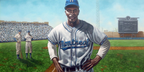 On April 18, 1946 Jackie Robinson stepped onto the field at Roosevelt Stadium in Jersey City, New Jersey in a Montreal Royals' uniform, breaking the color barrier in professional baseball. In his first game, he displayed the kind of play that would make him a legend: he drove in four runs with four hits, including a home run and stole two bases. Here is my painting of one of his first moments on that field.