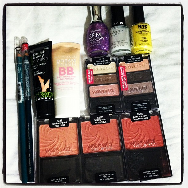 "Drugstore Haul (Taken with Instagram)  • NYC Nail Polish in ""Taxi Yellow Creme"" • Revlon Color Stay Longwear Base Coat • Sally Hansen Gem Crush in ""Be-Jeweled"" • Maybelline Dream Fresh BB Cream in Light/Medium • hoof Polish Away  Foot Polish (need to get summer ready feet!) • Wet n Wild color icon eyeliners in Turquoise & Green • Wet n Wild color icon eyeshadows palettes in ""Sweet as Candy"" & ""Silent Treatment"" • Wet n Wild color icon blushers in ""Pearlescent Pink,"" ""Mellow Wine,"" & ""Berry Shimmer""   Overall, I must say this was a good haul & I'm excited to try these out throughout this next week! :) Ps. Rite Aid had a 40% off Wet n Wild promo going on …"