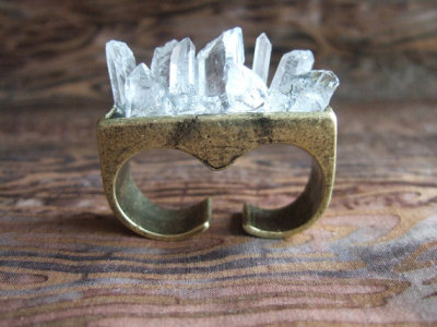 What Would Khaleesi Wear?Quartz Crystal Overgrowth Knuckle Ring