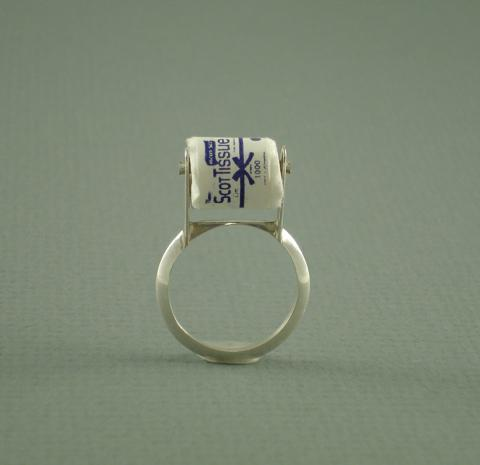 "nopenothanks:  ""Just in case"" miniature toilet paper ring in sterling silver.www.kristalromano.com"