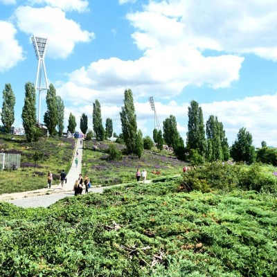 Mauerpark (Wall Park) is the sight of a formerly heavily-guarded section of the Berlin Wall. Only a small chunk of the wall remains here today.  A location formerly known as the death strip comes alive with thousands of people (mainly hipsters) on Sundays for a huge flea market. Prenzlauer Berg, Berlin (Taken with Instagram)