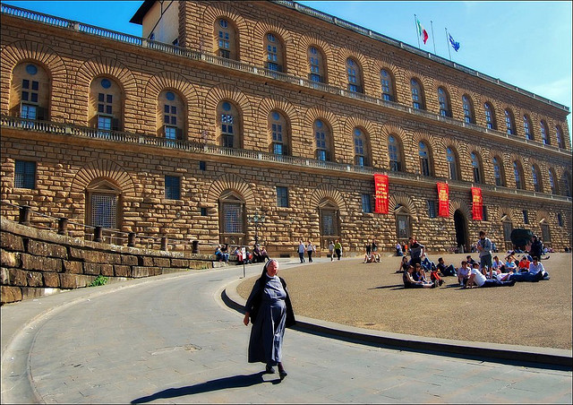 | ♕ |  Palazzo Pitti - Florence, Italy  | by © Noelle Smith Palazzo Pitti is a Renaissance-style vast palace in Florence. It is situated on the south side of the River Arno, a short distance from the Ponte Vecchio. The core of the present palazzo dates back to 1458 and was originally the town residence of Florentine banker, Luca Pitti. In 1549 the Medici family bought the palace, then it became the main residence for the Grand Duchy of Tuscany.