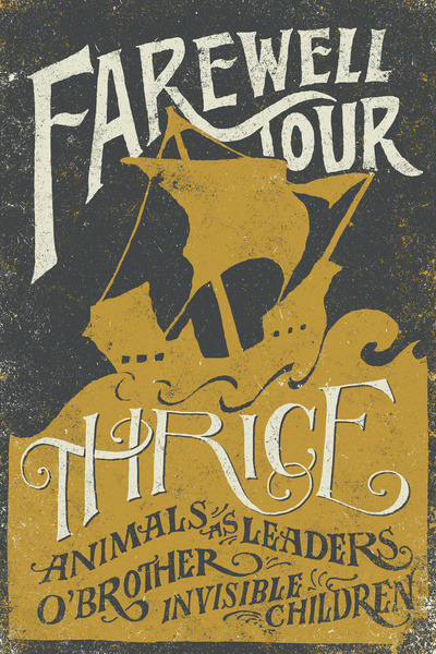 fuckyeahthrice:  joncontino:  The poster I designed for Thrice's farewell tour is available now in a limited colorway! I won't have this up here for long, so get it while you can!  http://society6.com/JonContino/Thrice-Farewell-Tour-Alternate-Limited_Print
