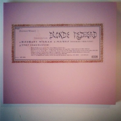 lightning-heart:  Things I Love: my Blonde Redhead elephant Woman' single #blonderedhead #music (Taken with Instagram)