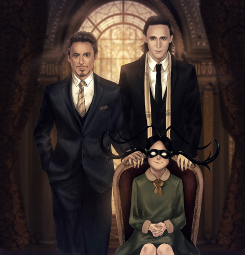 amywinterbreeze:  Frostiron family portrait :3 I wanted to post this for father's day, but it just took too long to finish ;_; Never thought drawing RDJ and Tom would be this hard. Oh my Gwad. My wrrrrist! It burrrrrns!  Looks like I gotta get some rest. Happy belated father's day everyone! :) Closeup (without Hela): http://25.media.tumblr.com/tumblr_m5swua163d1ry0uppo1_1280.jpg