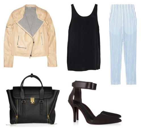 "Today's Look; Reed Krakoff ""Zipped leather motorcycle jacket"", Zimmermann ""Silk tank in Black"", The Row ""Seedun striped cotton cropped pants"", 3.1 Phillip Lim ""Pashli texured-leather tote"" & Alexander Wang ""Liya stingray, leather and suede pumps"", with love."