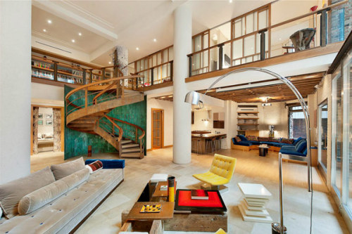 Remarkable TriBeCa Loft in NY. look at those stairs. omg.