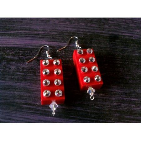 2X4 Swarovski studded Lego Block Earrings $17 http://missconstrued.com/Jewelry/Earrings/2X4LegoBlock