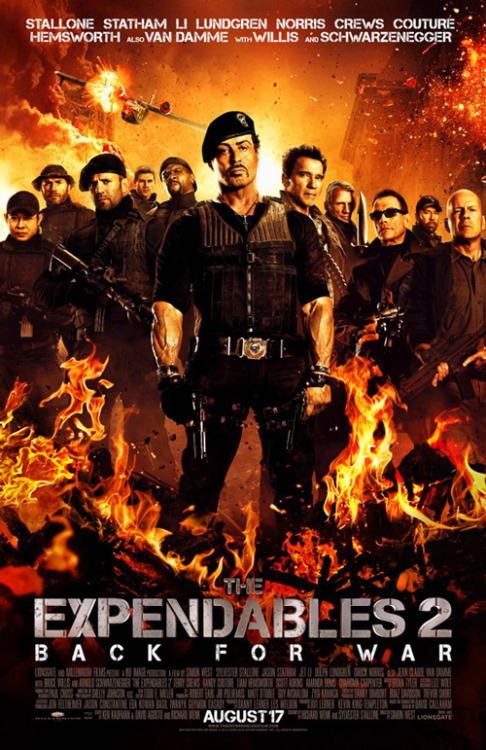 New poster for The Expendables 2 The Expendables 2 has released a brand new poster, and with its bared muscles, roaring explosions and proliferation of heavy-duty weaponry, its more or less exactly what you'd expect from Sly and the gang…