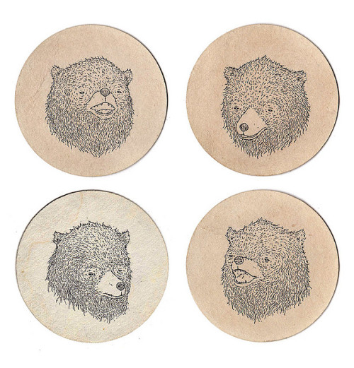 thedaintysquid:  Bear Coasters by SE▲N MOЯЯIS on Flickr.