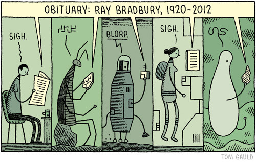 "jtotheizzoe:  This is wonderful.  If you missed it, here's Ray Bradbury reading his inspiring poem ""If Only We Had Taller Been"", an ode to exploration."