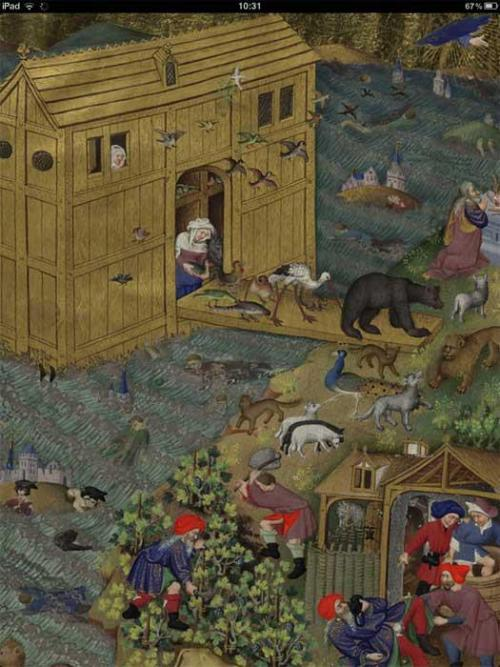 This image from the Bedford Hours shows animals leaving Noah's Ark.© The British Library Board