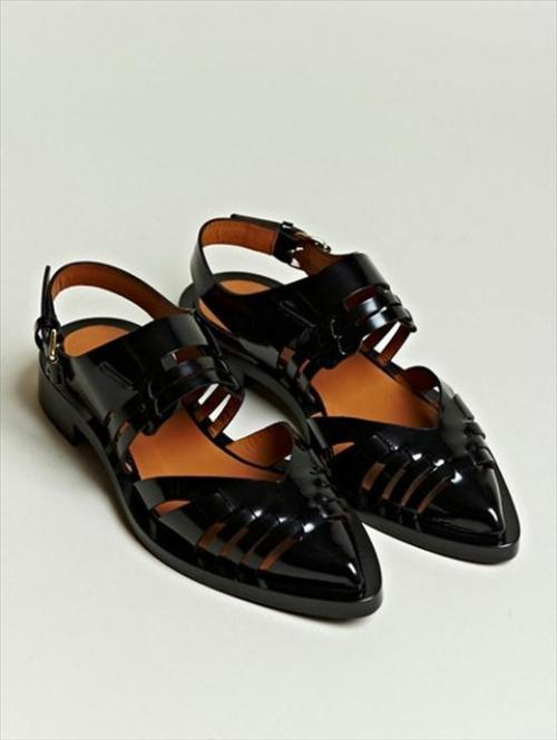 SS12 welcomed feet in Christopher Kane's brocade pool flats, Prada's 1950s flame sandals and Meadham Kirchhoff's glittery platforms, but my favourite shoes of the season are Givenchy's Pointed Patent Leather sandals. Adding a hint of Tisci's elegant darkness to any summer outfit.