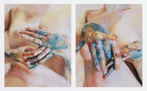"Cara Thayer & Louie Van Patten""Chromatic Maladies VII""Oil on Canvas Diptych25x40in2012"