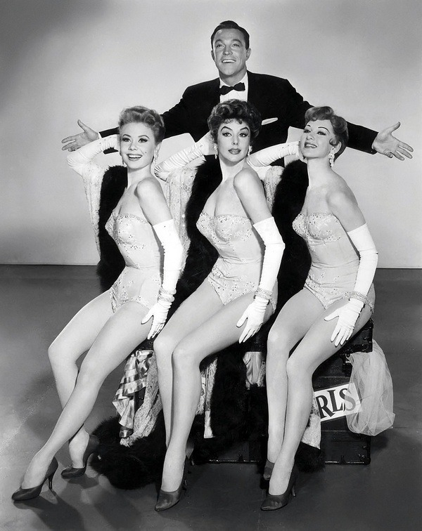 theniftyfifties:  Gene Kelly with Mitzi Gaynor, Kay Kendall, and Tanya Elg in 'Les Girls', 1957.