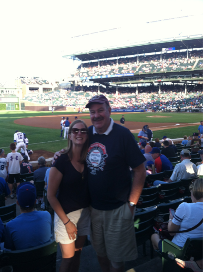 "Part of the fun things I get to do this week: Surprise my dad at Wrigley Field for Father's Day. My grandfather lives out in Chicago, as well as my dad's fantastic cousin Marie, who takes care of him a bunch. My parents were visiting Papa this weekend for Father's Day, and Marie had the idea to get both of them to a Cubs game together (not an easy feat for a 93 year old). ""What time does your flight get in? Any way you could meet us?"" The stars aligned, and without my dad knowing anything, I rolled into the stadium yesterday to surprise him. I had even called from the baggage claim at O'Hare that morning ""about to go to brunch with Jon but just calling to wish him a Happy's Father's Day!"" There were tears, and I'm pretty sure the people around us got as much of a kick out of the surprise as we did! It was such a great evening, and definitely one to remember. Happy Father's Day, dad!!"
