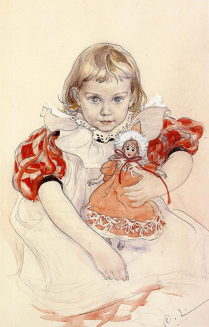 Carl Larsson, A Young Girl with a Doll, 1897 on Flickr.  Click image for 722 x 1129 size.