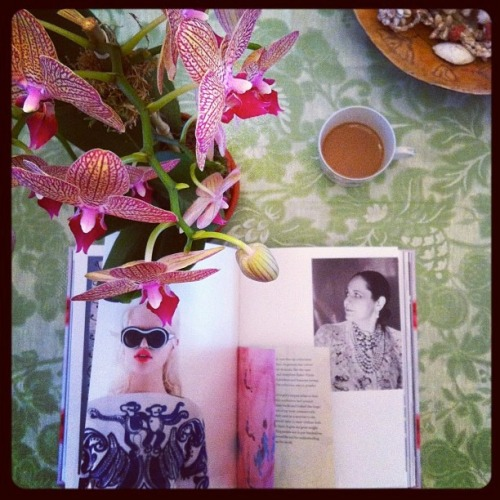 Morning coffee with new Schiaparelli & Prada book  / photo by Abigail Doan.