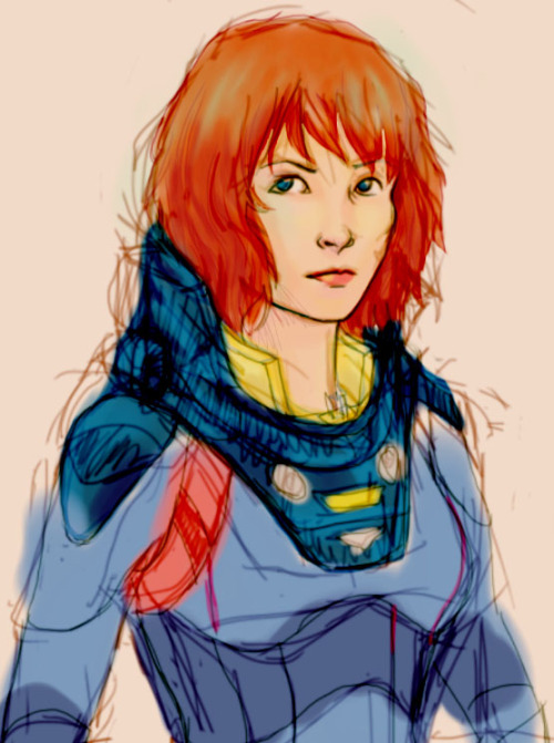 berunagirl:  Quick Prometheus drawing - Elizabeth Shaw. Because I love Prometheus. Also, my drawings look better like sketches than finished artwork so I need more practice. D: