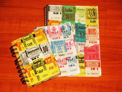 ageofthediary:  How To Use Bus Tickets to Design Your Notebooks  Bus tickets are good art materials because they come in different colors and designs. Some bus tickets are fully shaded with color, while other tickets have a white or grayish background and are inked in color. You can create different patterns and color palettes using these tickets.  READ MORE: http://ageofthediary.wordpress.com/2012/06/17/how-to-use-bus-tickets-to-design-your-notebooks/