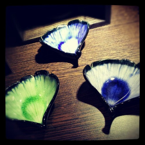 nottheclinicalkind:  Pretty leaf plate set from Japan City (Taken with Instagram)