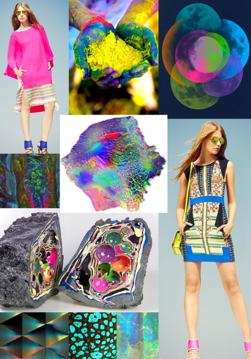 Colour Story - Vibrant Glow for Spring Summer 2013 - Day Glow Brights - Acid Yellow - Fluorescent Touches - Dark Undertones - Indigo Blue - Microscopic Colour - Underwater Tropics  BCBG Resort 2013, Ohhappyday.com, Many Moons by Christopher David Ryan, Microscopy photograph of insects by Igor Siwanwics, Vibrant Render by Travess Smalley, Geodes by Elyse Graham, Andy Gilmore, Starfish, Moonstone, BCBG Resort 2013 image via fashioning.com Original Article