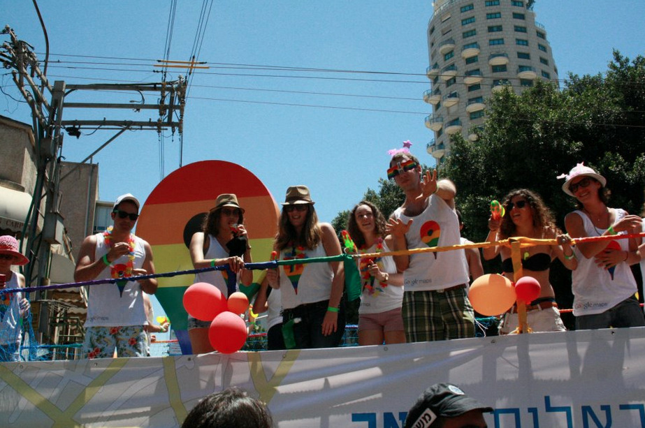 The Google float at Tel Aviv Pride. Thanks to Benjamin Cohen on Facebook for sharing.