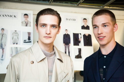 justdropithere:  Yannick Abrath & David Hlinka - Pringle of Scotland SS13 Backstage