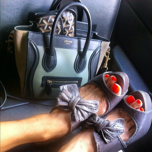 evachen212:  accessories of the day: Celine Nano, Miu Miu bow heels, Zoya polish in Paz (Taken with Instagram)