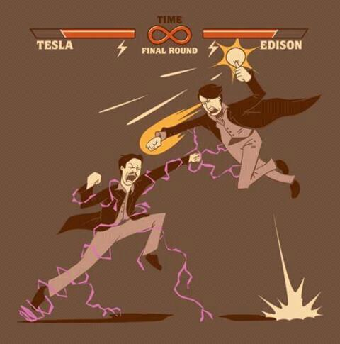 "darksmiter88:  theblueboxboy:  ""Tesla versus Edison"" – let the lightning round begin. From thinkgeek.com  Go Tesla!"