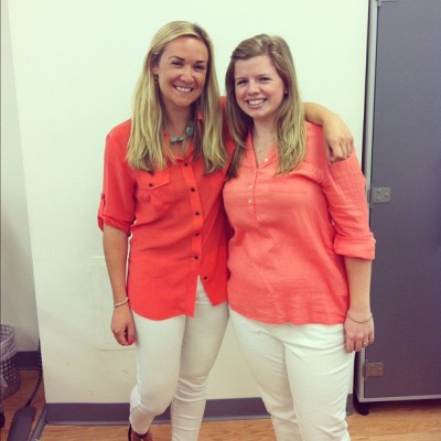 #officetwins brightening up our #mondaymorning! Looking cute in coral ladies! (Taken with Instagram at charitybuzz)