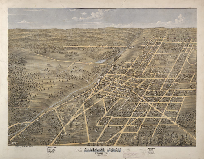 "Bird's eye view of Mineral Point, Wisconsin, 1872. This week we're starting another series—taking a closer look at specific Wisconsin communities. We'll start with Mineral Point, one of the state's oldest cities. Mineral Point was formally established in 1827, named for the rich lead deposits—""mineral""—that attracted miners and speculators from far and wide. By 1872, as pictured here, Mineral Point was a thriving commercial center. via: Historical Maps Collection, Wisconsin Historical Society"