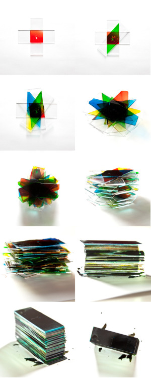objekttrager. glass plates and food dye