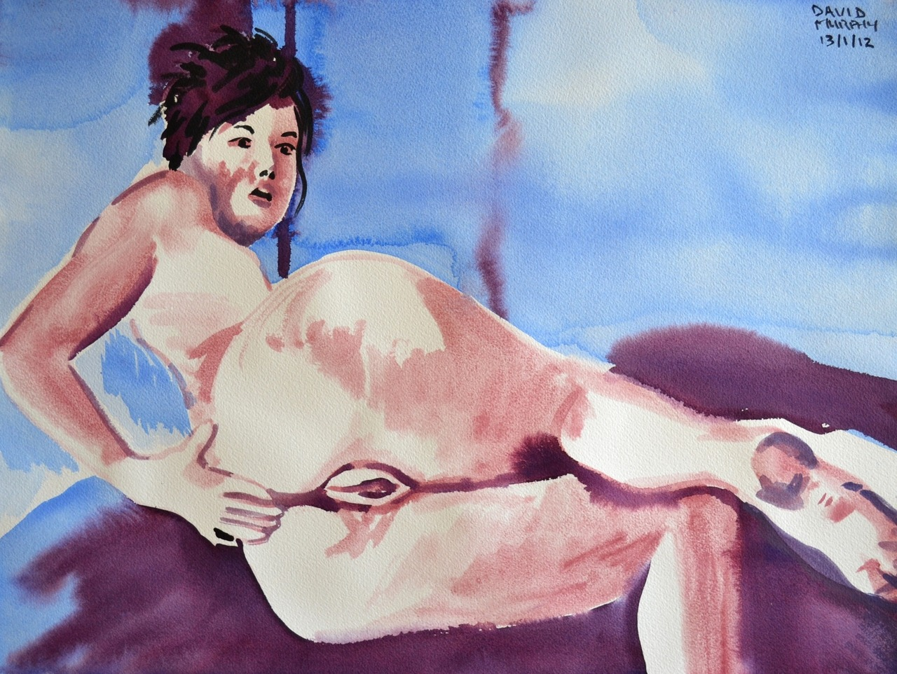 "David Murphy, Naked Girl No. 9, 2012, 24"" x 18"", Watercolour on Arches 140lb Watercolour Paper. www.davidbrendanmurphy.com"