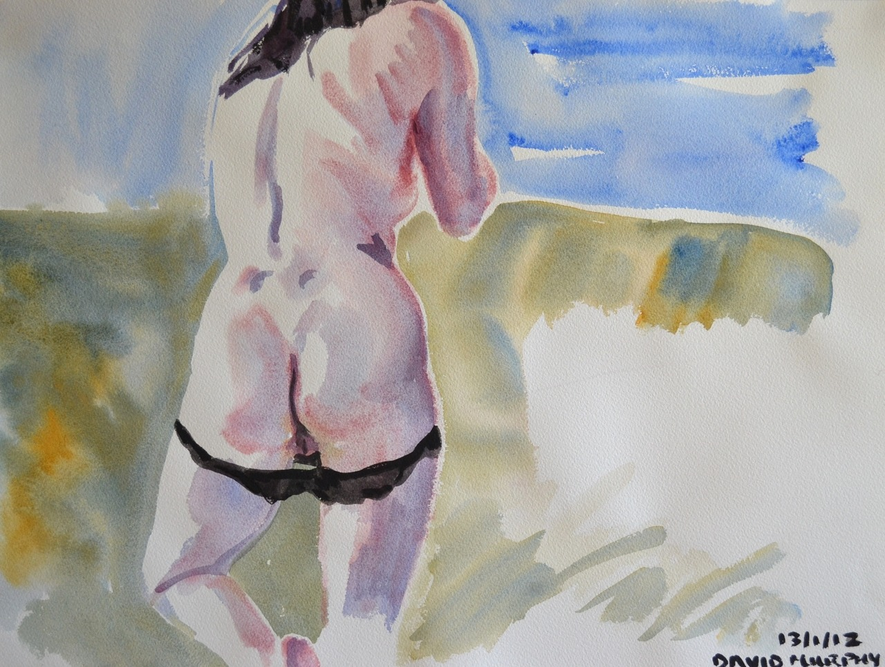 "David Murphy, Naked Girl No. 10, 2012, 24"" x 18"", Watercolour on Arches 140lb Watercolour Paper. www.davidbrendanmurphy.com"