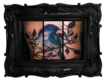This is a Blue Bird I did on my friend and loyal client. The tattoo is so large it wraps around his arm so I had to do what I could to place the pictures together to include the entire tattoo. We didn't talk too much about the meaning, but he is in the Navy so I'm 99% sure it has to do with coming home after his long trip to Japan. It was a blast to do! Done by Thea Fear at Saints & Sinners Tattoo in Garden Grove, California. Theafear.com Instagram:TheaTattooer Tumblr:Theafear.tumblr.com