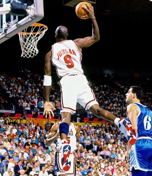 "Michael Jordan takes flight in the Air Jordan VII ""Olympic"""