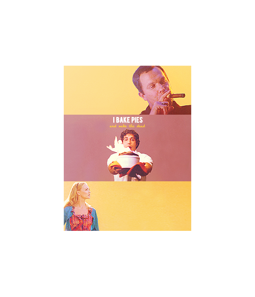 "hobanwashburnes:   I live a very sheltered life.  Chuck as Pushing Daisies ↳ Chuck Bartowski as Ned the Piemaker, Sarah Walker as Charlotte ""Chuck"" Charles, John Casey as Emerson Codd."
