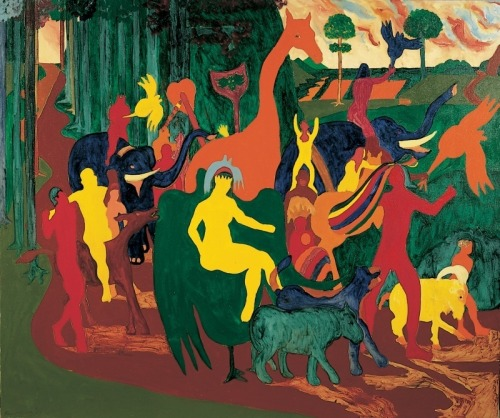 Bob Thompson, Triumph of Bacchus, 1964. Oil on canvas, 60 × 72 1/16 in. (152.4 × 183 cm). Whitney Museum of American Art, New York