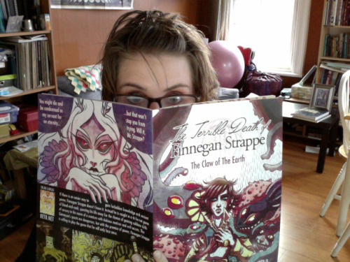 jordynb:  littlefoible:  Finally got a chance this weekend to pick up a copy of Jordyn Bochon's FINNEGAN STRAPPE: The Claw of the Earth! If you don't have a copy, you should get one. Now. Seriously.  Sharp writing, gorgeous artwork, and terrifying occult events! I was really, really impressed.   Thank you so much! The first issue has been doing well, and will be going back to the printer actually… Eeee! After working so long and silently and sweatily it's amazing to hear back from people about it. Can't wait for issue two!  I'm honored to have gotten to help out with this comic! I can't wait to get a copy of this gorgeous, gorgeous thing. Jordyn is the coolest!