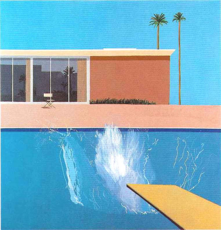 jahsonic:  A Bigger Splash A Bigger Splash is a large pop art painting by British artist David Hockney. It depicts a swimming pool beside a modern house, disturbed by a large splash of water created by an unseen figure who has apparently just jumped in from a diving board. Inside the room, behind the director's chair, I imagine the woman of Eric Fischl's Bad Boy painting.