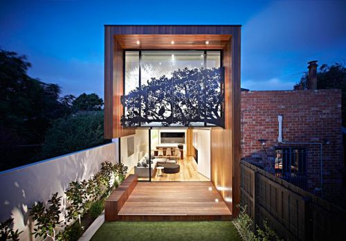 Nicholson Residents by Matt Gibson Architecture+Design Full height glazed façade with detailed sheet metal screen.