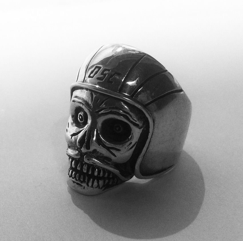 deathspraycustom:  DSC x TGF Skull ring This is a wonderful little collab with London's world famous The Great FrogHand carved, solid silver, big, heavy and handlebar moustached. It's based on an illustration for DSC by none other than the Mr Stevie Gee There are only a handful in existence, there may be a very limited run on offer.