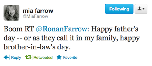 "thedailywhat:  Tweet of the Day: Ronan Farrow, the 24-year-old sole biological child of Woody Allen and Mia Farrow, has never been a fan of his father's marriage to Soon-Yi Previn, who is also Ronan Farrow's adopted sister. Mia Farrow's ""boom"" retweet? Perf. [hypervocal]"