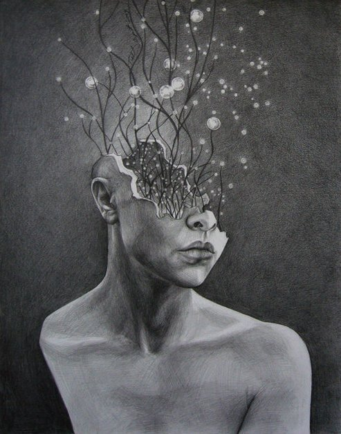 "mydarkenedeyes:  The Bright and Cavernous Mind by Catalina Ouyang HB-5B pencils, 14 x 17"" on bristol board"