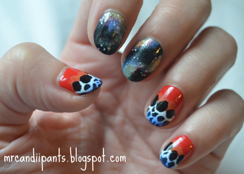 nailsbyveryemily:  mrcandiipants:  So today for the nail art challenge, I was supposed to do galaxies. The next day was animal print, so I went ahead and did them together! The animal print I based this off of is the reticulated poison dart frog, and I'm kind of obsessed. Read more here!  a w e s o m e