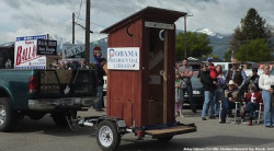"Outside the Montana state Republican Party convention this weekend was an outhouse labeled the ""Obama Presidential Library"" and covered in painted-on bullet holes. Inside the outhouse contained a fake birth certificate for Barack Hussein Obama, according to the Helena Independent Record. It was stamped ""Bull——."" A graffito advised ""For a Good Time call 800-Michelle (crossed out), Hillary (crossed out) and Pelosi (circled in red.)"" State GOP Chairman Will Deschamps said he didn't know who was responsible for the outhouse but called it a ""sideshow,"" the paper reported."