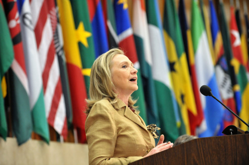 U.S. Secretary of State Hillary Rodham Clinton delivers opening remarks at the 2012 African Growth and Opportunity Act (AGOA) Forum to mark Global Economic Statecraft Day at the U.S. Department if State in Washington, D.C. on June 14, 2012. [State Department photo/ Public Domain]