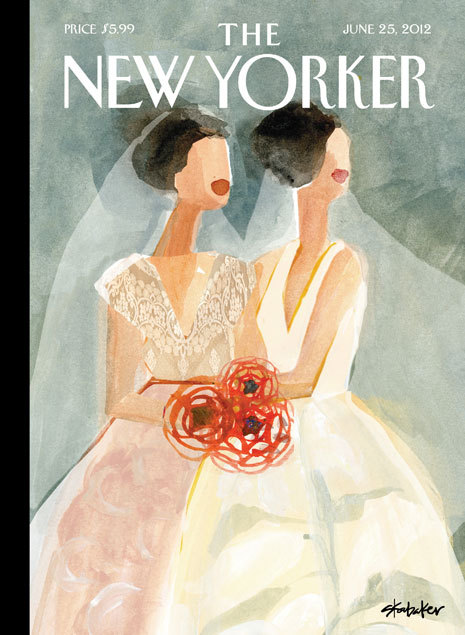 "newyorker:  This week's cover, ""June Brides,"" is the artist Gayle Kabaker's first time in The New Yorker. The magazine's art editor, Françoise Mouly, found the image through her Blown Covers blog. Every week, Mouly hosts a cover contest on the blog, open to all, with themes that closely mirror those she suggests to her regular contributors, from Father's Day to books to the theme that reeled this image in: weddings. Click-through for a slide show of other wedding images submitted to the Blown Covers blog, with Françoise's comments: http://nyr.kr/OSX5mh"